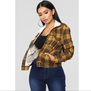 Fashion Nova Faux Sherpa Plaid Light Jacket